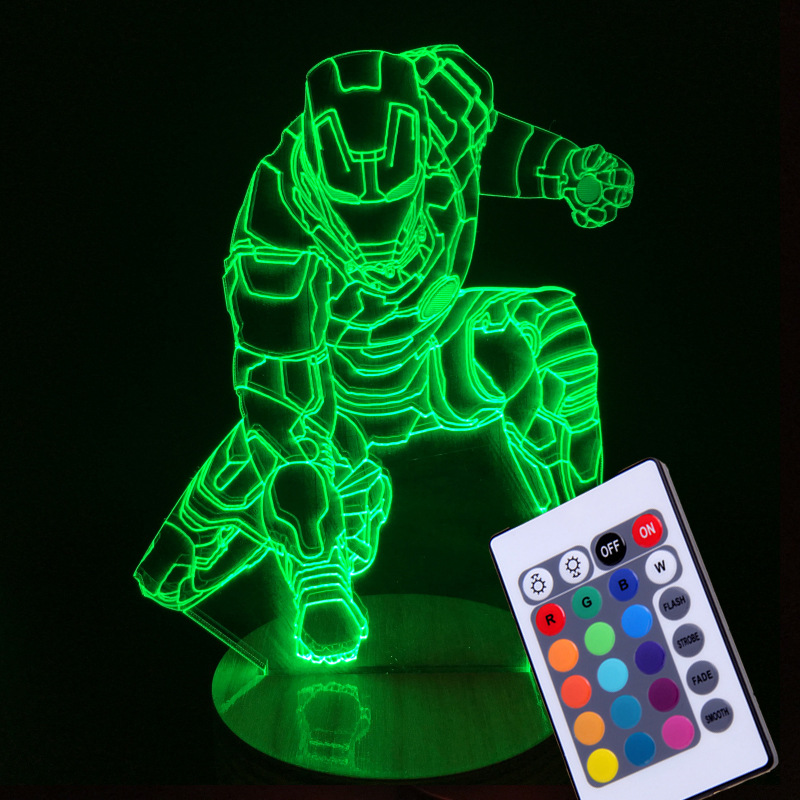 Color Changing remote Avengers Mavel 3D lamp 3d illusion led lamp light IRON MAN night lamp table desk lamp home lighting new marvel avengers lamp 3d art iron man mask night light superhero illusion mood lampe for kids friends dad creative toy gift