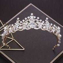 hot deal buy rose gold pearl princess hair tiaras bridal headpiece women crystal crown hair ornaments wedding hair jewelry accessories