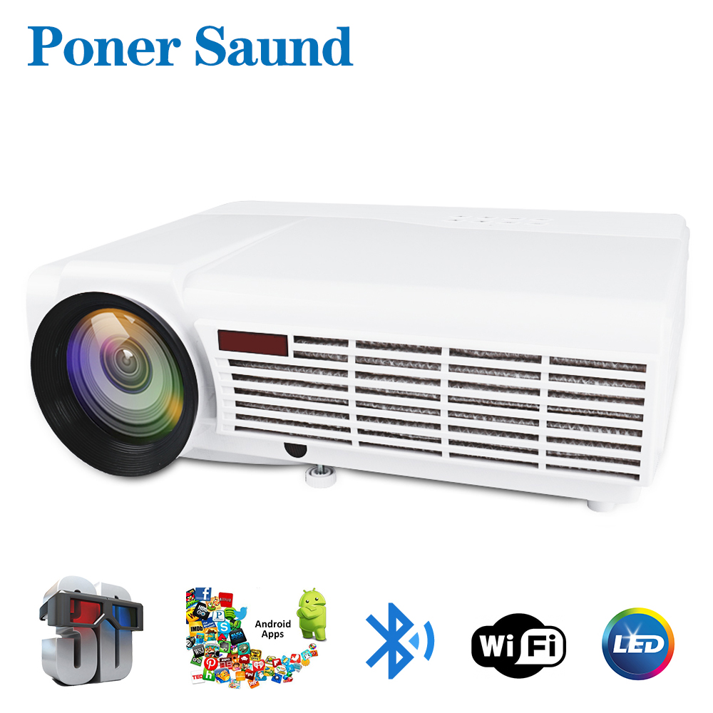 Poner Saund LED 96 Full HD Projector Home Theatre Optional Android 6.0 Bluetooth WIFI Support HD 1080P HDMI USB VGA LCD Beamer poner saund lcd gp12 led mini projector for home theater support full hd 1080p hdmi usb sd