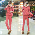 Winter Thick 3 Piece Set Women Suit Hooded Top+Zip Vest+Full Length Pants Female Casual Tracksuits Leisure Sweatsuit Pajamas