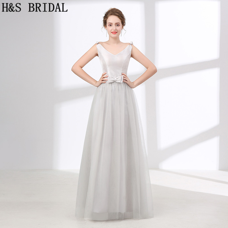 H&S BRIDAL 2018 New Custom made Silver Simple Cheap   bridesmaid     dresses   Girls Party Gowns Satin   bridesmaid     dresses   long