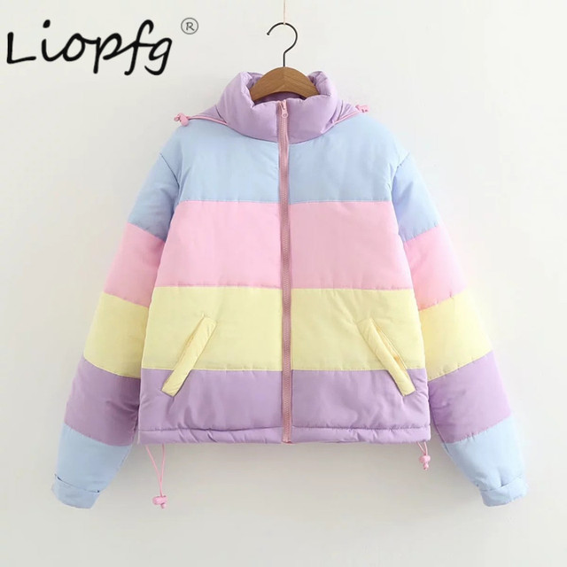 2017 girl new parka female down jacket  women's winter coat Short  Rainbow Splicing Color Pastel Panel Puffer  light  giftXW3437