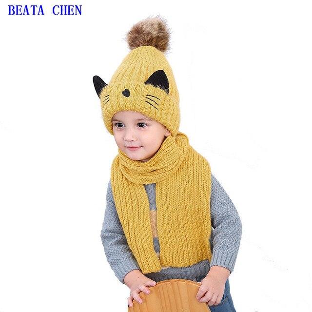 Детские шапки, Осень-зима, утепленная шерстяная шапка для мальчиков и девочек 2-8 лет, детский шарф, два комплекта