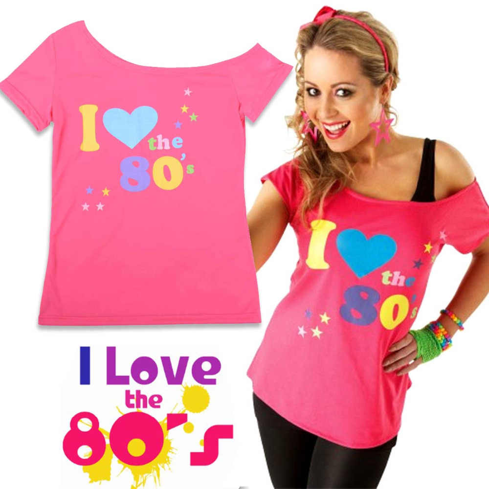 855598b95cd5fb I Love 80s T-Shirt Women s Short Sleeve Off the Shoulder T-Shirt For