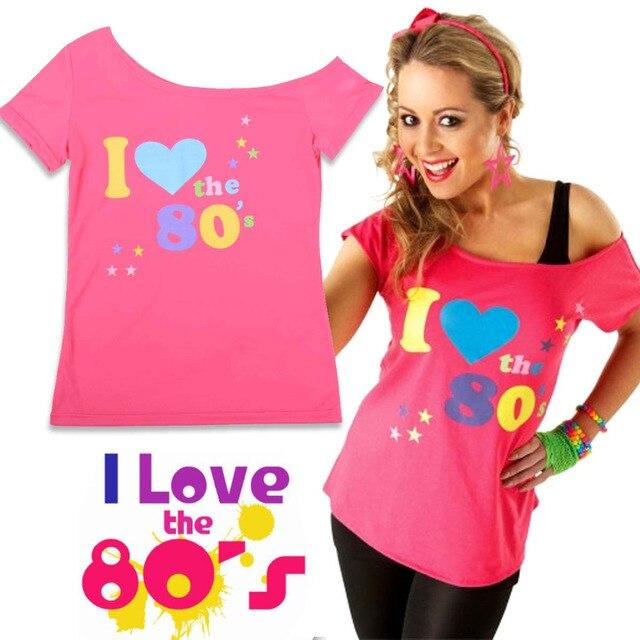 13d01db4328 I Love 80s T-Shirt Women's Short Sleeve Off the Shoulder T-Shirt For Woman  Retro 1980's Pop Star Fancy Dress Party Costume