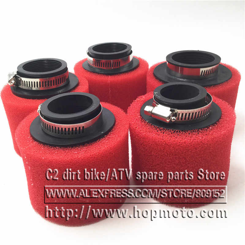35mm 38mm 42mm 45mm 48mm 58mm Rechte Foam Air Filter Spons Cleaner Bromfiets Scooter CG125 150cc Dirt Pit Bike Motorfiets ROOD