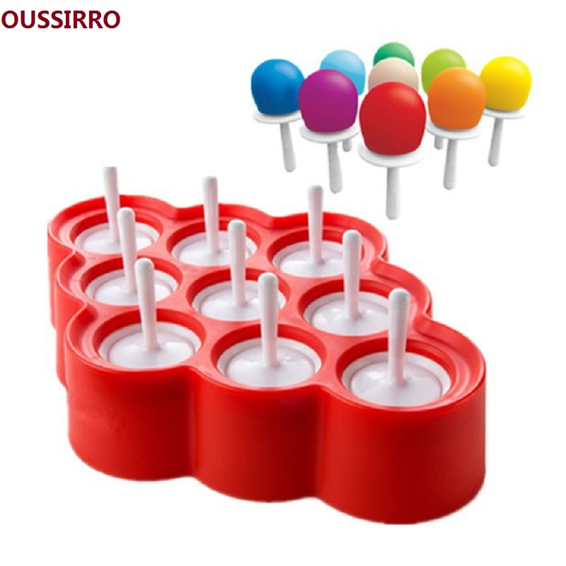 Söt silikon Mini Ice Pops Mögel Glass Ball Lolly Maker Popsicle Formar med 9 klistermärken Popsicle Moulds Glass Mould Ice Pop