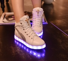 Women led shoes 2016 Luminous Shoes High Quality LED Lights Colorful Shoes women Casual Shoes Rabbit's Hair Snow Boots