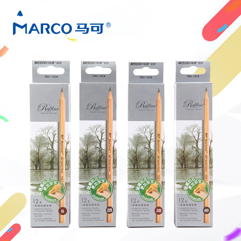 Marco Standard Pencils 12 Pieces/Box Sketch Drawing Pencil Set Best Quality Non-toxic for Office School Pencil 12 pieces box marco s sketch drawing pencil set non toxic pencils for school student top quality standard pencils lapiz 3001