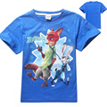 wholesale 5pcs/lot zootopia t-shirt boys clothes kids fashion children clothing brand baby girl clothes cartoon tee shirt fille