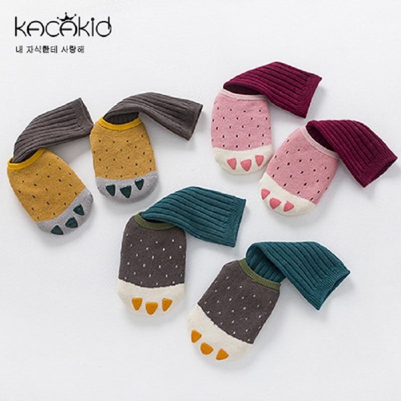 Kacakid baby Autumn winter socks new childrens small cute terry boat socks+stripes long socks suit infant socks