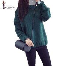 Women Knit Pullover Sweater 2018 Autumn Winter High-neck Thicken Tops Hood Korean pullover X711