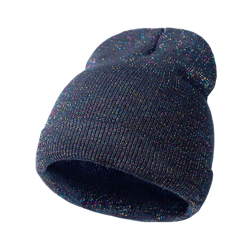 spring hats for women Gold and silver thread knit shiny hat thick skullies beanies hat thip hop knitted hat