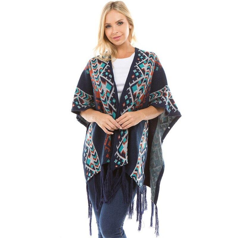 Bohemian Knitting Cardigan Sweater Ethnic Print Chic Fringe Robe Women Winter Kn