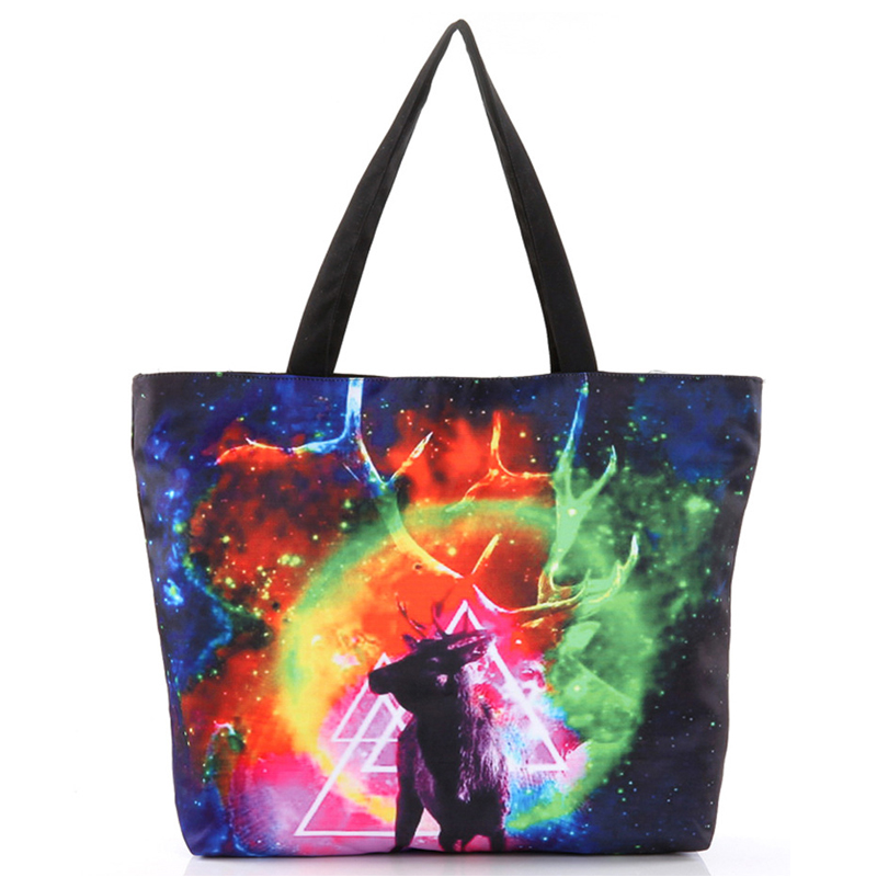 High Quality Design Colorful 3D Printing Animal Canvas Casual Tote Women Handbag Fashion Shopping Bag Foldable