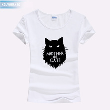 Fashion Women MOTHER OF CATS Printed Female Kawaii Cute Summer Top Tee Shirt Black White Harajuku Best Friends T