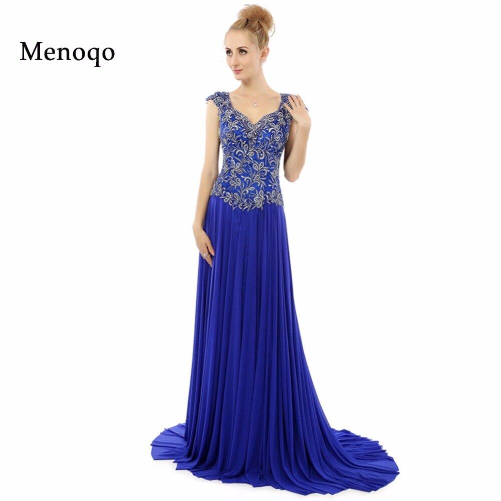 Vestidos de festa Royal blue A line Cap sleeve Applique Chiffon Sexy Open back Formal Gowns 2019 Real Image   Prom     Dresses   long