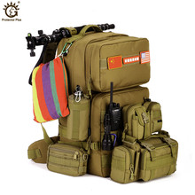 55L Large Capacity Men Military Tactical Backpack Outdoor Mountaineering Bag Hiking Camping Waterproof Nylon Bucket Bagpack Y105