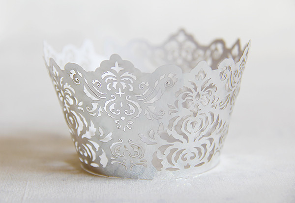 Free Shipping Sliver Royal Lace Wedding Cupcake Wrappers