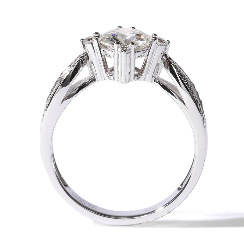 TransGems 1 ct Carat Lab Grown Moissanite Diamond Wedding Rings moissanite Accents Solid 14K White Gold for Women in Rings from Jewelry Accessories