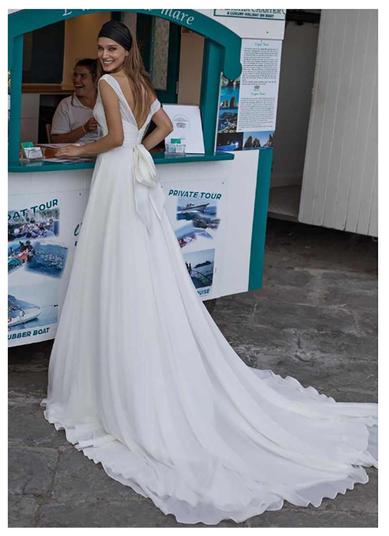 Lorie Beach Wedding Dress Cheap Chiffon V Neck Bride Dresses Open Back Simple Wedding Gowns Backless Floor Length in Wedding Dresses from Weddings Events