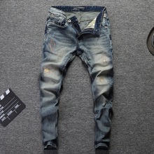 2018 Fashion Designer Men Jeans Slim Fit Blue Color Cotton Denim Pants Ripped Jeans For Men Patch Design Classical Jeans homme все цены