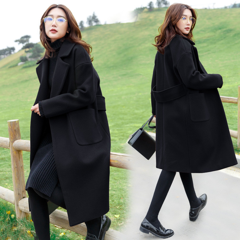 Section Et D'hiver Noir De Automne Dans Nouveau Femmes Laine Manteau Taille Longue Le Genou Leisureover 2018 La Grande Droit FqwH0ER