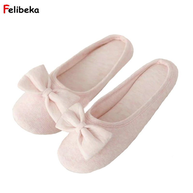 Spring Summer pink/gray Slippers Cotton Women Bow Mark Home Shoes Women Indoor Bedroom Guest Cool House Slipper
