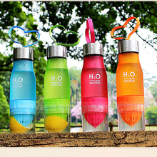 650ml Water Bottle H20 Plastic Fruit Infusion Bottle Drink Creative Outdoor Sports Juice Lemon Portable Water Direct Drinking(China)