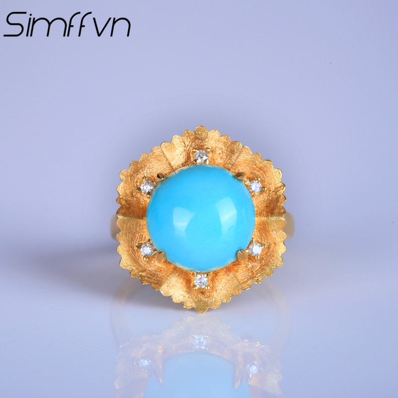 Simffvn 18k Yellow Gold 4.05 CT Turquoise Certified Round Cut Vintage Gemstone Women Wedding Ring Jewelry Anniversary Ring