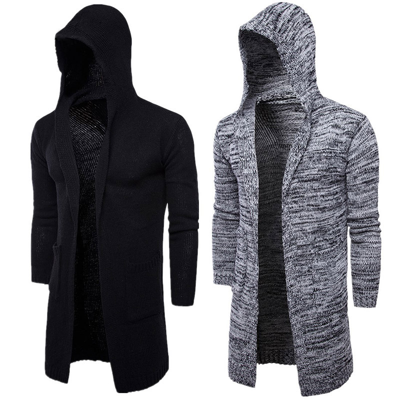2018 New Fashion Mens Cardigan Sweaters Casual Long Coat Autumn Hooded Knitted Sweaters Sweatercoats Male Embroidery CardiganXXL