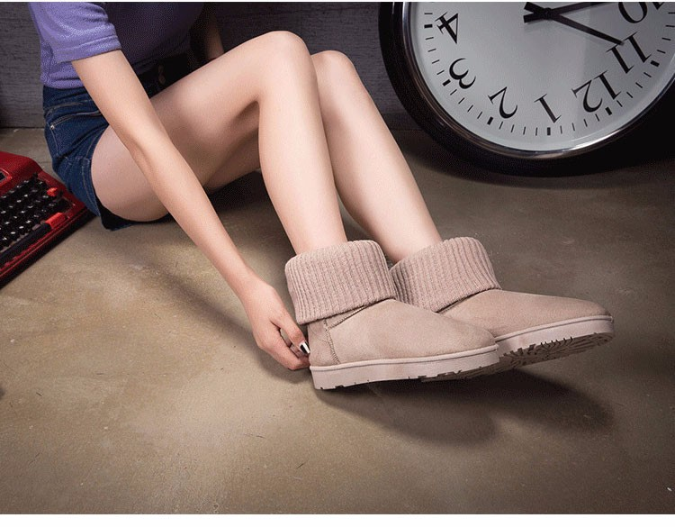 KUYUPP Patchwork Knitting Wool Women Snow Boots Winter Shoes 2016 Flat Heels Warm Plush Ankle Boots Slip On Womens Booties DX119 (24)