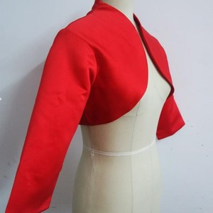 Image 3 - ruthshen 2018 Women Jacket 3/4 Sleeves Red Satin Bridal Accessories Custom Made Wedding Jackets / Coat / Bolero