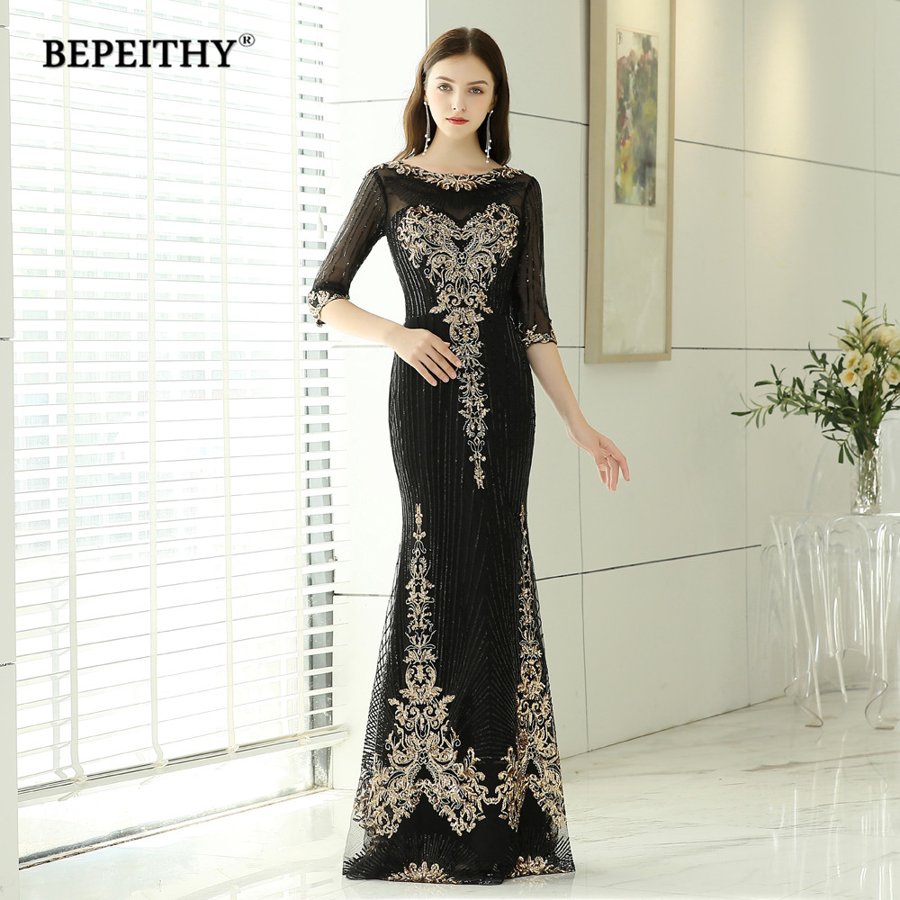 Bepeithy Elegant Mermaid Long Evening Dress Half Sleeves Lace