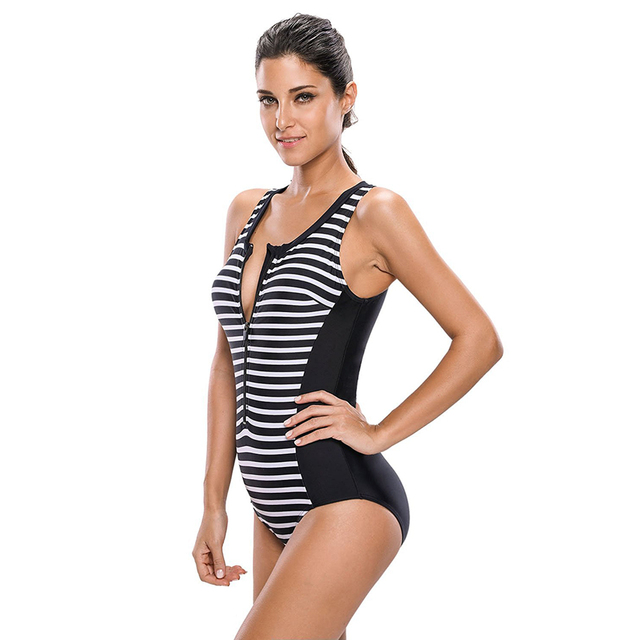 3b74ea8853 Women s Strips Sporty Zip Front Lined Up Padded One Piece Swimsuit ...