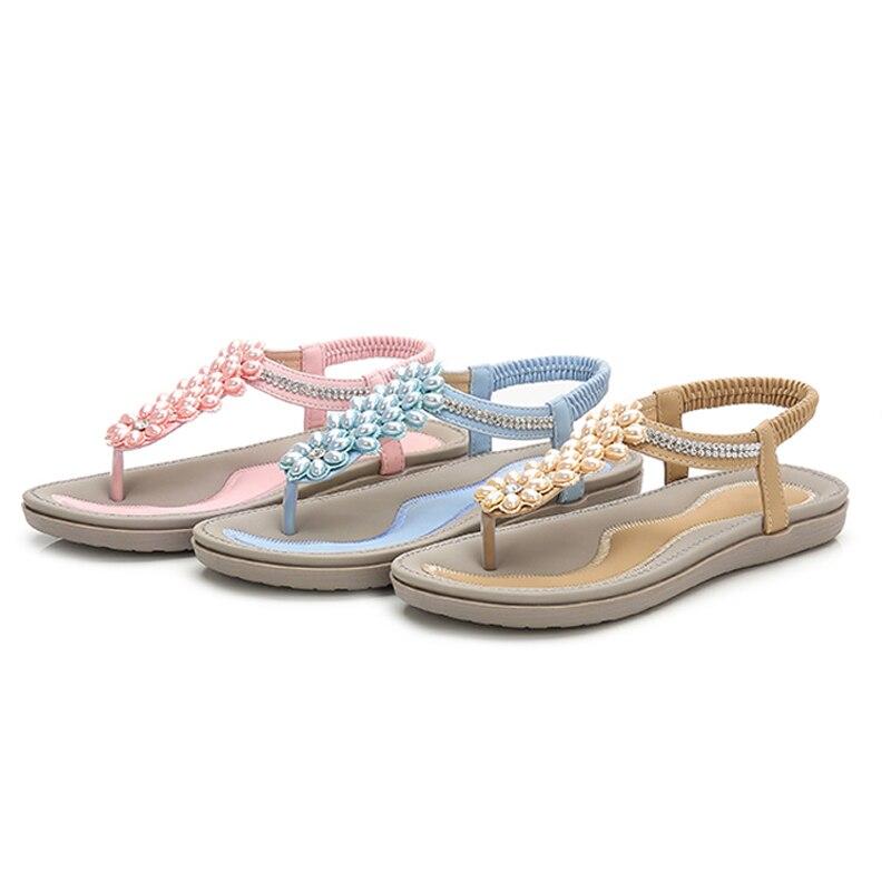 Image 2 - BEYARNES Fashion Women Beach Flip Flops Sandals Beading Ladies Teenslippers Women Summer Shoes breathable Comfortable SandalenWomens Sandals   -