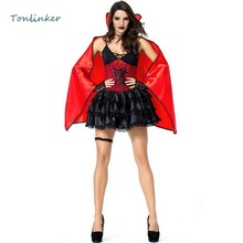 Halloween Sexy Dark Vampire Queen Costumes Cosplay Women Bat Masquerade Dress+Cloak