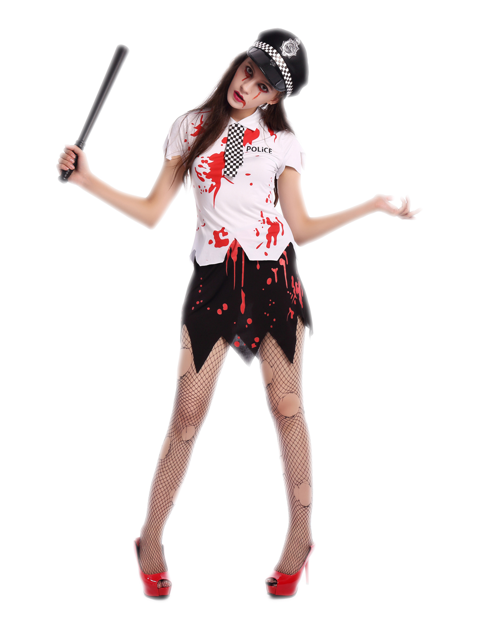 free shipping bloody women zombie police costume 3s1689 police