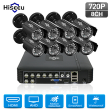 Hiseeu 8CH 720P font b CCTV b font Camera system 8pcs 1 0MP waterproof Outdoor Surveillance