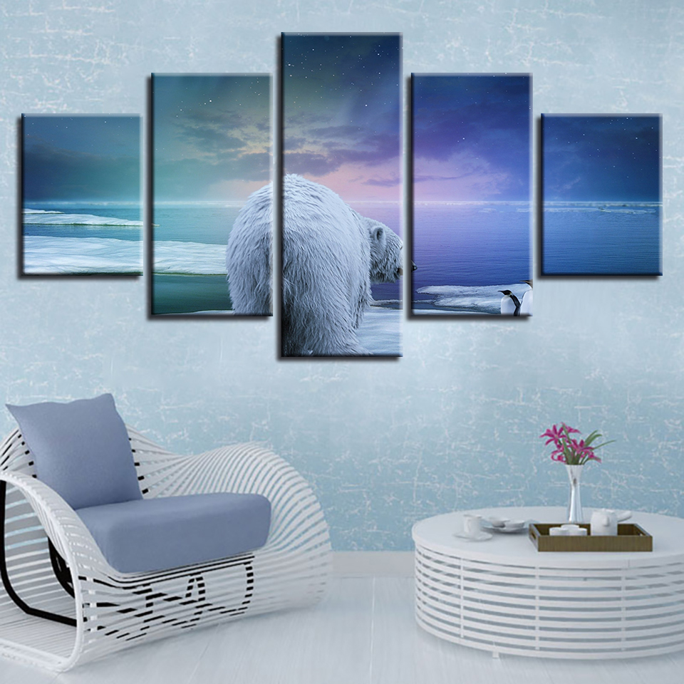 Decor Room Poster Modular Canvas Pictures 5 Pieces Animals Polar Bear And Penguin Snow Scene Paintings Wall Art Framed HD Prints in Painting Calligraphy from Home Garden