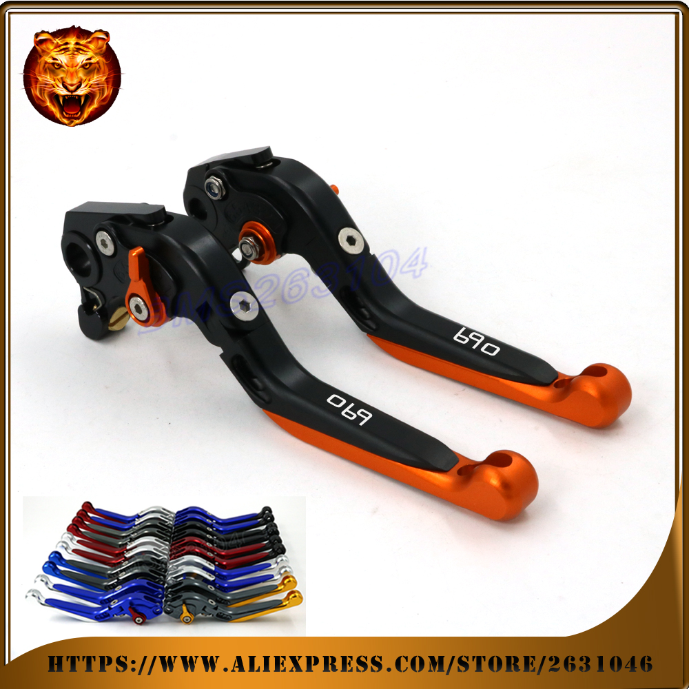 Adjustable Folding Extendable Brake Clutch Lever For KTM 690 LC4 SUPERMOTO 2007 2008 2009 Orange with logo Motorcycle adjustable folding extendable brake clutch lever for kawasaki versys 1000 versys1000 14 15 free shipping with logo motorcycle