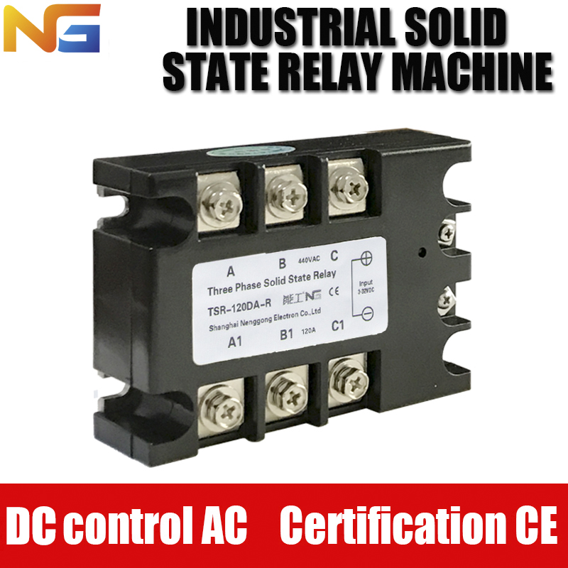 Three-phase Solid State Relay Shanghai Nenggong SSR industrial-grade 120A DC control AC Voltage Regulator h3120zf 3 three phase dc to ac 120a 4 32vdc industrial grade solid state relay set ssr set not incluidng tax