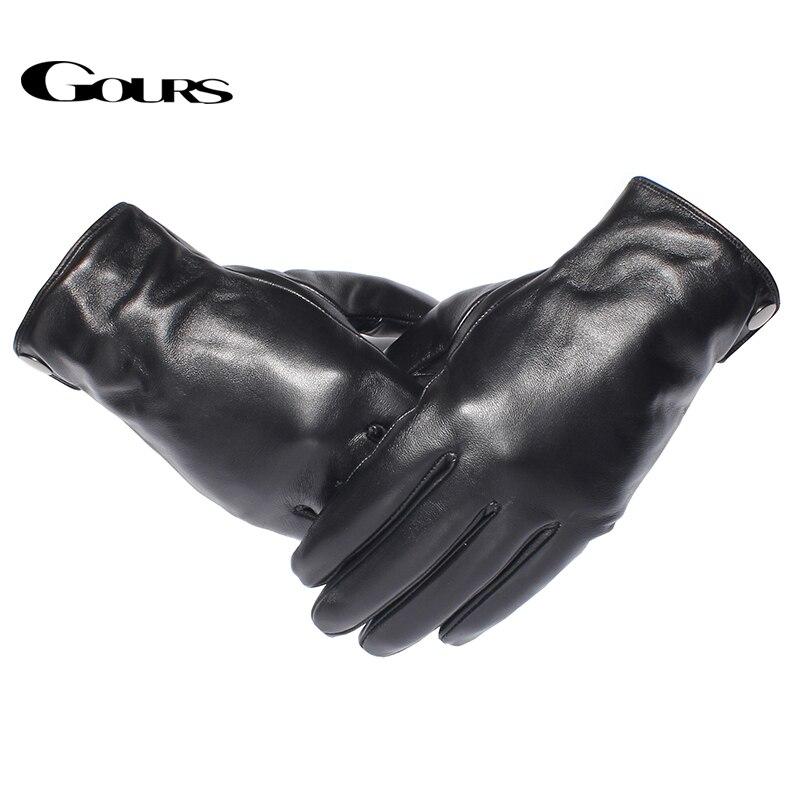 Image 2 - Мужские теплые перчатки GOURS, черные перчатки из натуральной овечьей кожи с возможностью управления сенсорным экраном, GSM051, зима 2019-in Мужские перчатки from Аксессуары для одежды on AliExpress - 11.11_Double 11_Singles' Day