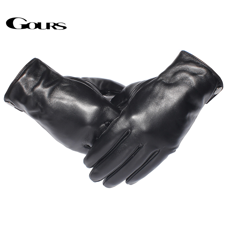 Gours Men 39 s Genuine Leather Gloves Fashion Brand Real Sheepskin Black Touch Screen Gloves Button Winter Warm Mittens GSM051 in Men 39 s Gloves from Apparel Accessories