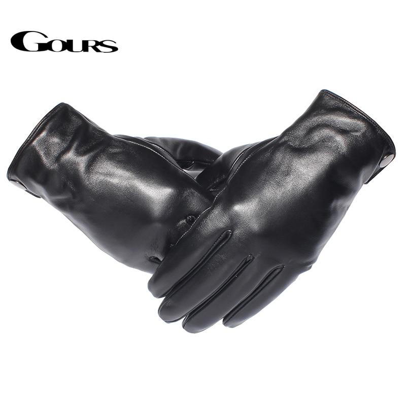 Gours Mäns äkta läderhandskar Mode varumärke Real Sheepskin Black - Kläder tillbehör - Foto 2