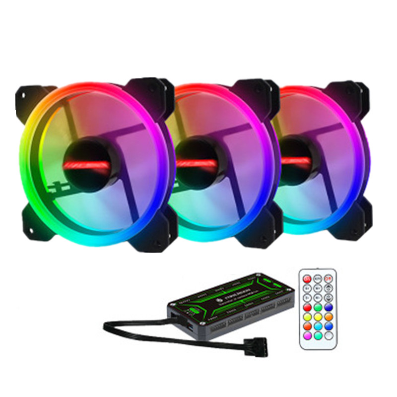 RGB Case Fan 12cm Desktop Computer Chassis Water Cooling Fan Colorful Aurora Eclipse silent fan