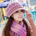 Winter hat female knitted hat scarf twinset female knitted hat winter women's new brand female year gift wool warm outdoor sets