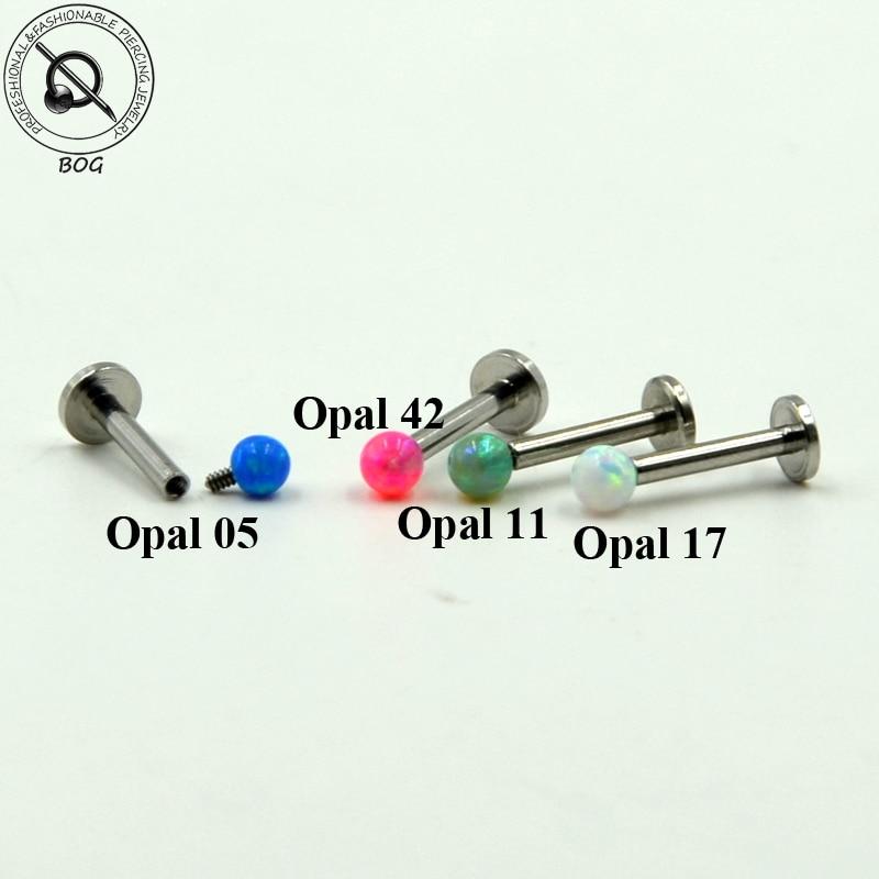 3 Pcs Internal Thread Labret Monroe Lip Ring Ear Cartiliage Tragus Helix Piercing stud With 3mm Opal Stone 16g&14g Body Jewelry