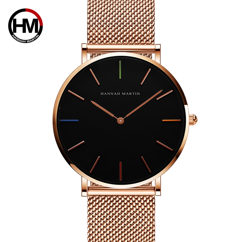 2018 New Design Waterproof Japan Quartz Movement Stainless Steel Mesh Band Rose Gold Unisex Men Women Ladies Watch Drop shipping