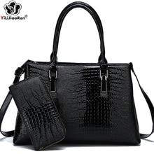 Luxury Crocodile Pattern Purses and Handbags Sets High Quality Leather Shoulder Bag Large Capacity Crossbody Ladies HandBags